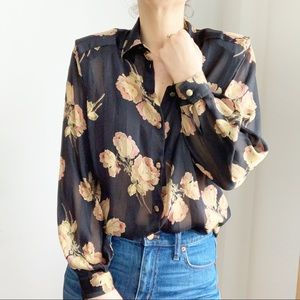 Vtg Black Floral Print Sheer Button Down Shirt M